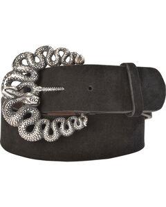 Lucchese Women's Black Suede Snake Buckle Belt , , hi-res