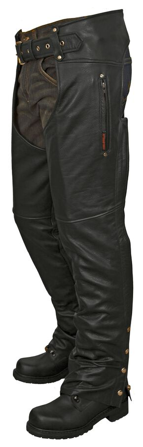 Interstate Leather Unisex Lined Chaps, Black, hi-res