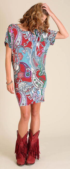 Wrangler Women's Cranberry Print Dolman Wedge Dress , Multi, hi-res
