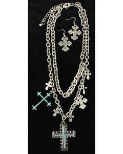 Blazin Roxx Turquoise Cross Statement Necklace & Earrings Set, , hi-res