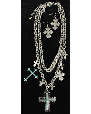 Blazin Roxx Turquoise Cross Statement Necklace & Earrings Set, Silver, hi-res