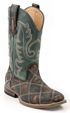 Roper Boys' Patchwork Cowboy Boots - Square Toe, , hi-res