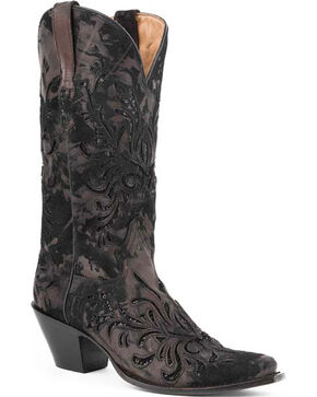 Stetson Kael Metallic Cowgirl Boots - Snip Toe, Dark Brown, hi-res