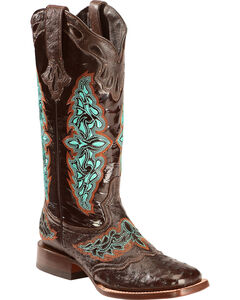Lucchese Women's Chocolate Amberlyn Full Quill Ostrich Boots - Square Toe , , hi-res