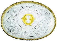 Montana Silversmiths Engraved Initial Q Western Belt Buckle, , hi-res
