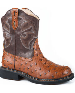 Roper Tan Ostrich Print Cowgirl Boots - Round Toe , , hi-res