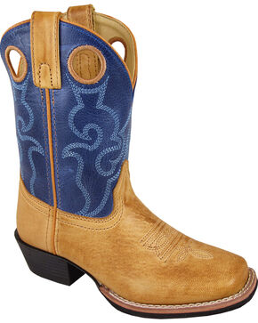 Smoky Mountain Youth Boys' Clint Western Boots - Square Toe , Brown, hi-res