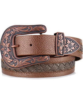 Shyanne Women's Braided Inlay Leather Belt, Brown, hi-res