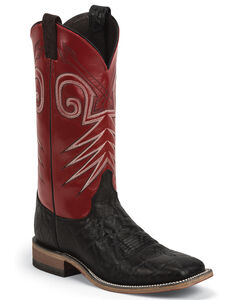 Justin Bent Rail Cowboy Boots - Wide Square Toe, Black, hi-res