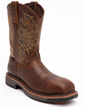 Ariat Brown Croc Print Workhog Work Boots - Composite Toe , Brown, hi-res