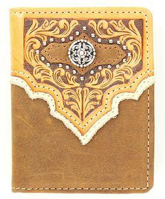 Nocona Studded Fancy Overlay Bi-fold Wallet, , hi-res