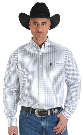 Wrangler George Strait Men's White Plaid Button Up Shirt - Big & Tall, White, hi-res