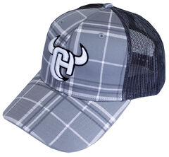 Cowboy Hardware Logo Plaid Trucker Cap, , hi-res