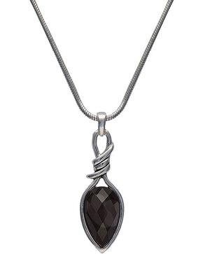 Montana Silversmiths Bittersweet Barbed Wire Pear-Shaped Black Onyx Necklace, Silver, hi-res