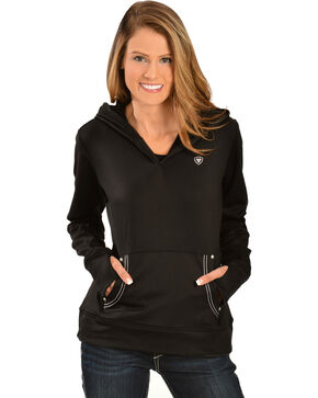 Ariat Women's Black Tek Fleece Hoodie, Black, hi-res