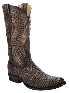 Corral Lizard Braided Vamp Cowboy Boots - Round Toe, , hi-res