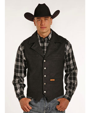 Powder River Outfitters Men's Montana Wool Vest - Big & Tall, Black, hi-res