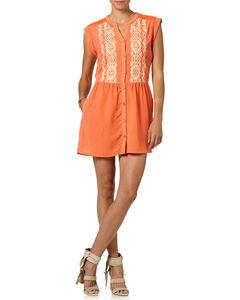 Miss Me Orange Button Down Sleeveless Dress , , hi-res