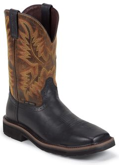 Justin Oiled Leather Stampede Pull-On Work Boots - Square Composite Toe, , hi-res