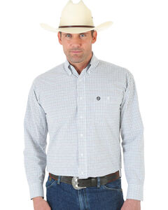 Wrangler George Strait White Plaid Pin Point Oxford Shirt, , hi-res