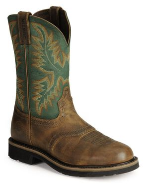 Justin Stampede Work Boots - Soft Toe, Tan Tail, hi-res