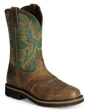Justin Men's Stampede Work Boots - Steel Toe, Tan Tail, hi-res