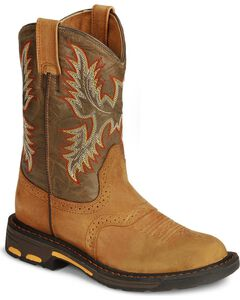 Ariat Boys' Aged Bark Workhog Cowboy Boots - Round Toe, , hi-res