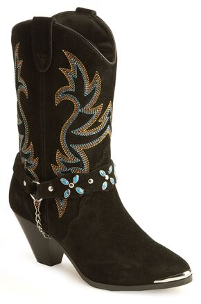 Dingo Stone Harness Cowgirl Boots, Black, hi-res