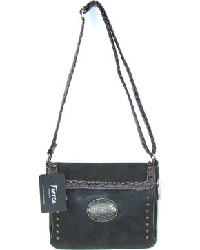 Savana Women's Fierce Conceal Carry Croco Trim Crossbody Purse , Black, hi-res