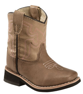 Swift Creek Toddler Girls' Brown Cowgirl Boots - Square Toe, Brown, hi-res