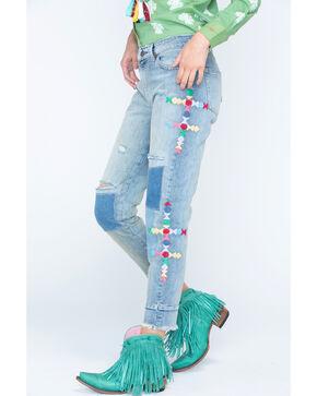 Miss Me Women's Patchwork Fray Boyfriend Jeans - Straight Leg , Indigo, hi-res