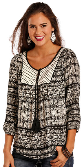 Panhandle Slim Women's Black and White Tassel Top, Black, hi-res