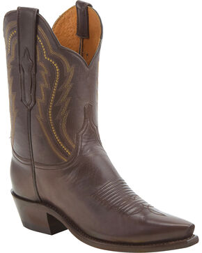 Lucchese Women's Hattie Chocolate Goat Leather Short Western Boots - Snip Toe, Chocolate, hi-res