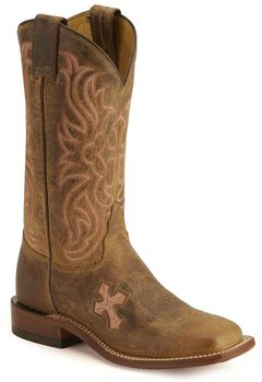Tony Lama Cross Inlay Cowgirl Boots - Square Toe, , hi-res