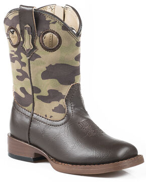 Roper Toddler Boys' Camo Cowboy Boots - Square Toe, Brown, hi-res