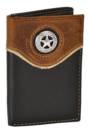 Nocona Leather Overlay Star Concho Tri-Fold Wallet, Black, hi-res
