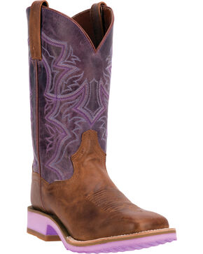 Dan Post Serrano Purple Diamond Pro Cowgirl Boots - Square Toe, Tan, hi-res