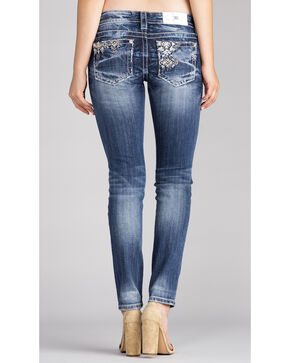 Miss Me Women's Indigo Embroidered White Stone Jeans - Skinny , Indigo, hi-res
