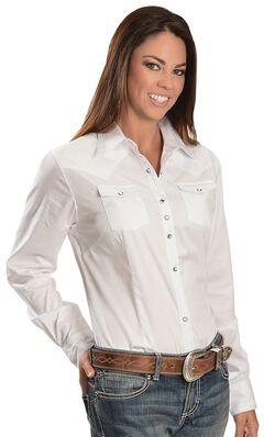 Wrangler White Rhinestone Snap Western Shirt, , hi-res