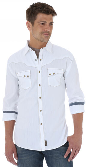 Wrangler Men's Retro Solid White Shirt, White, hi-res