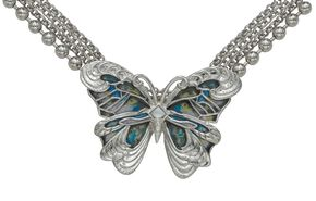 Montana Silversmiths Silver Blue Green Swirl Butterfly Necklace, Silver, hi-res