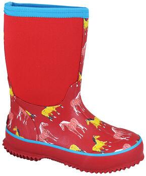 Smoky Mountain Toddler Girls' Horsin' Around Waterproof Boots, Red, hi-res