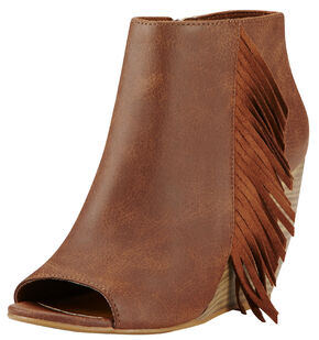 Ariat Women's Brown Unbridled Jaycee Open Toe Booties, Brown, hi-res