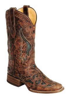 Corral Cognac & Olive Inlay Cowgirl Boots - Square Toe, , hi-res