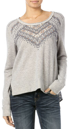 Miss Me Printed Chiffon Back Embroidered Sweater, , hi-res