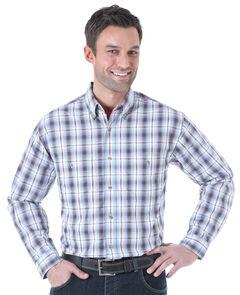 Wrangler Men's Rugged Wear Slate Plaid Long Sleeve Shirt , , hi-res