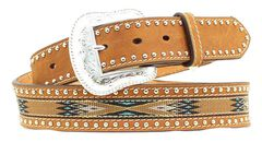Nocona Woven Aztec Studded Leather Belt, , hi-res