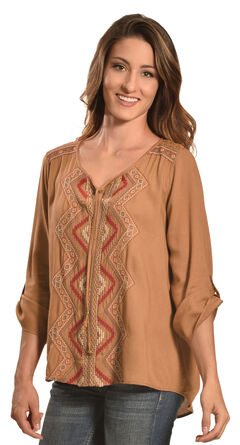 Tantrums Women's Camel Embroidered Lace Hi-Lo Shirt , , hi-res