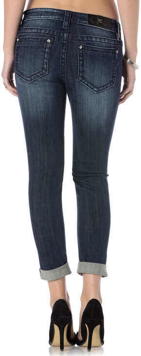Miss Me Women's Vineyard Vamp Roll Cuff Skinny Jeans, Indigo, hi-res