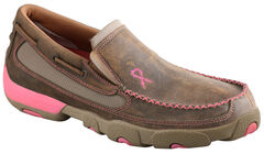 Twisted X Women's Tough Enough to Wear Pink Slip-On Driving Mocs, Tan, hi-res